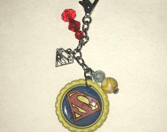 Handmade Bottlecap clip-ons or keychains Red, blue and Yellow Superman