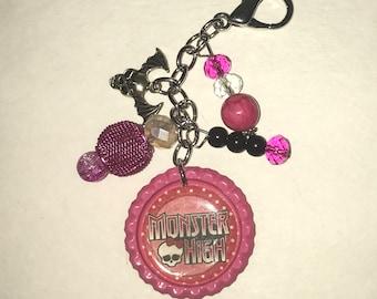 Handmade Bottlecap clip-ons or keychains Pink and Black Monster High Bat