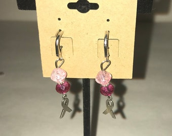 Handmade dangle earrings Breast Cancer Awareness Pink Ribbon