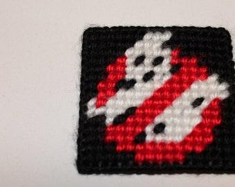 Handmade Plastic Canvas Ghostbusters logo No Ghosts Magnet (refrigerator fridge)