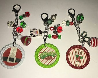 Handmade Christmas holiday clip-ons or keychains