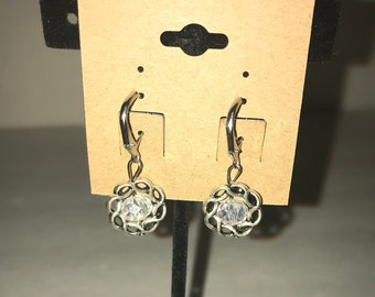 Handmade dangle earrings Silver and clear crystal