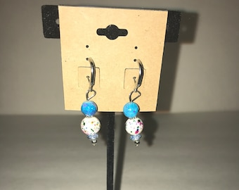 Handmade dangle earrings Turquoise and white speckled with silver