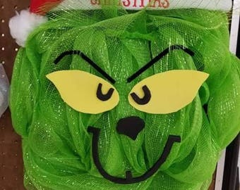 Green the Grinch that stole holiday mesh Christmas wreath