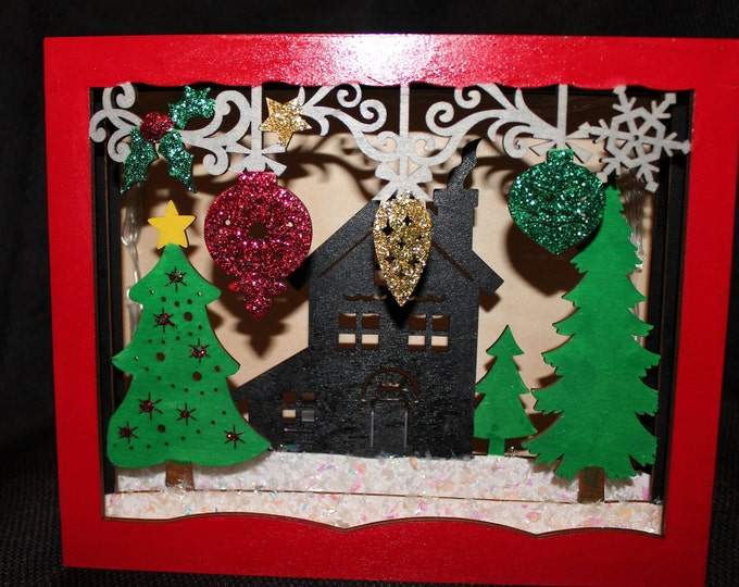 Hand painted Scenic Christmas LED Shadow Box with house, trees and ornaments