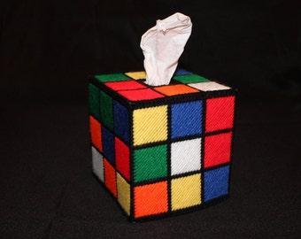 Rubix cube Tissue Box Cover in multicolor