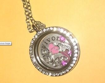 Silver Floating Charm Necklace Pendant Breast Cancer Awareness Ribbon Survivor Locket