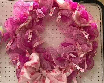 Pink Breast Cancer Awareness Mesh wreath