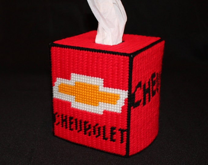 Chevrolet Chevy Car Truck logo Tissue Box Cover in Red, white and black