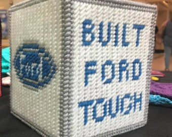 Built Ford Tough logo Tissue Box Cover in white and blue