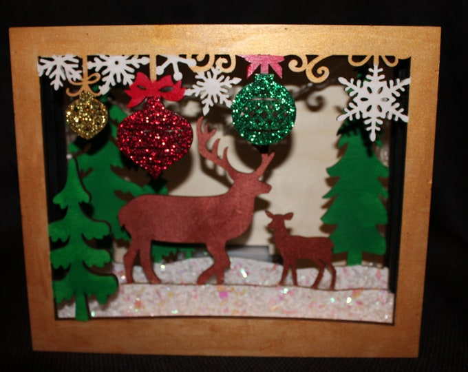 Hand painted Scenic Christmas LED Shadow Box with reindeer, trees and ornaments
