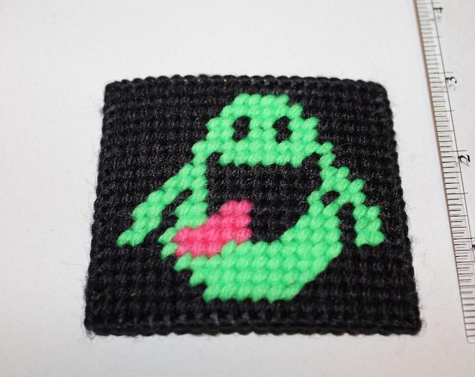 Handmade Plastic Canvas Ghostbusters Slimer No Ghosts Magnet (refrigerator fridge)