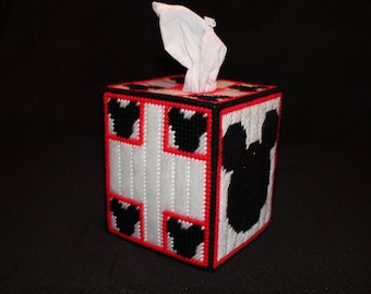 Mickey Mouse Silhouette Tissue Box Cover in Red, white and black