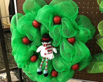 Red, green and Snowman holiday mesh Christmas wreath