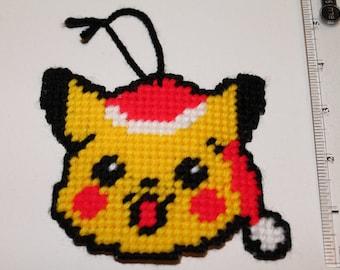 Handmade Plastic Canvas Pokemon Pikachu santa hat ornament