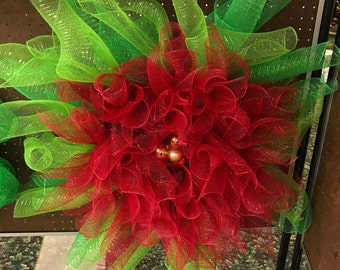 Large Red Poinsettia holiday Christmas mesh wreath with green leaves