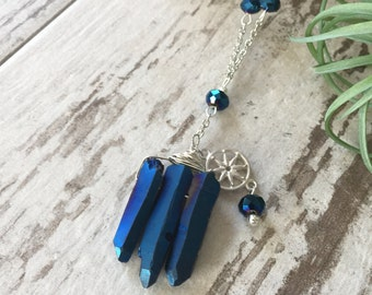 Midnight Blue Crystal Shard Necklace