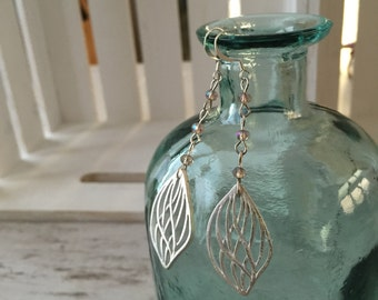 Silver Leaf Crystal Earrings