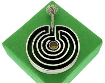 Ariadne, Sterling Silver Labyrinth-shaped Pendant