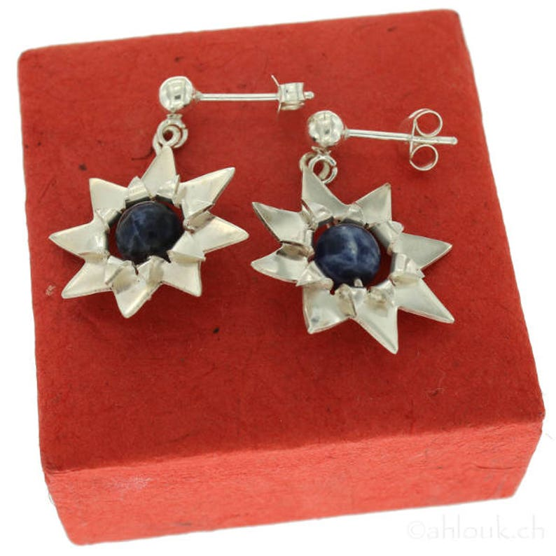 Sunflower Earrings in Sterling Silver /& Stones