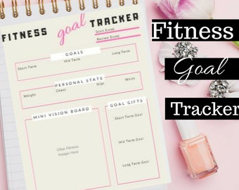 Fitness Goal Tracker Planner Weight Loss Journey US Letter PRINTABLE PDF