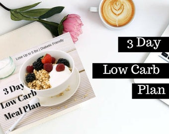 3 Day Low Carb Diet, Weight Loss Plan, Fitness Planner, Meal Planner, Weekly Meal Planner, Menu Planner, Printable Planner, Detox, Diet