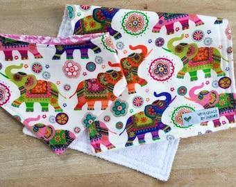 Bib and Burp Cloth Set, Bandana Bib, Elephant