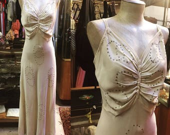 Gorgeous Cream-colored Rayon Crepe Bias cut Gown