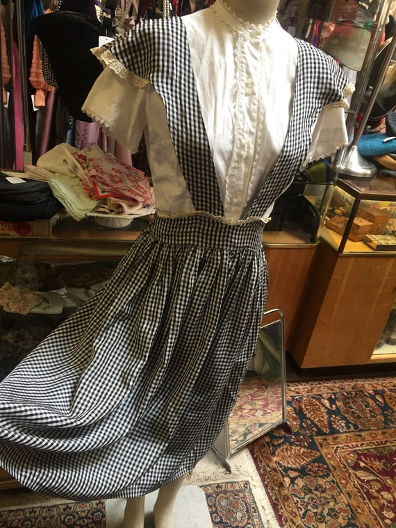 1940s plaid taffeta jumper by Lanz