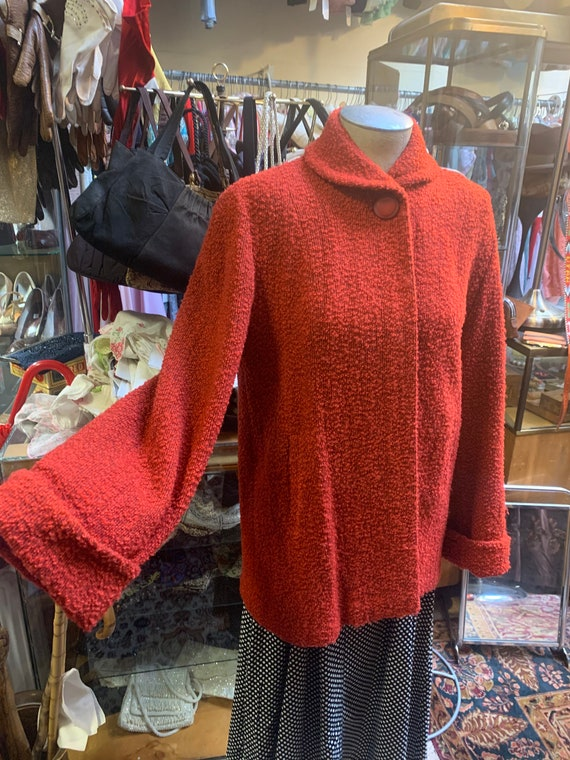 Floofy 1940s Coat IN Hot Orange/Red With Pleasing