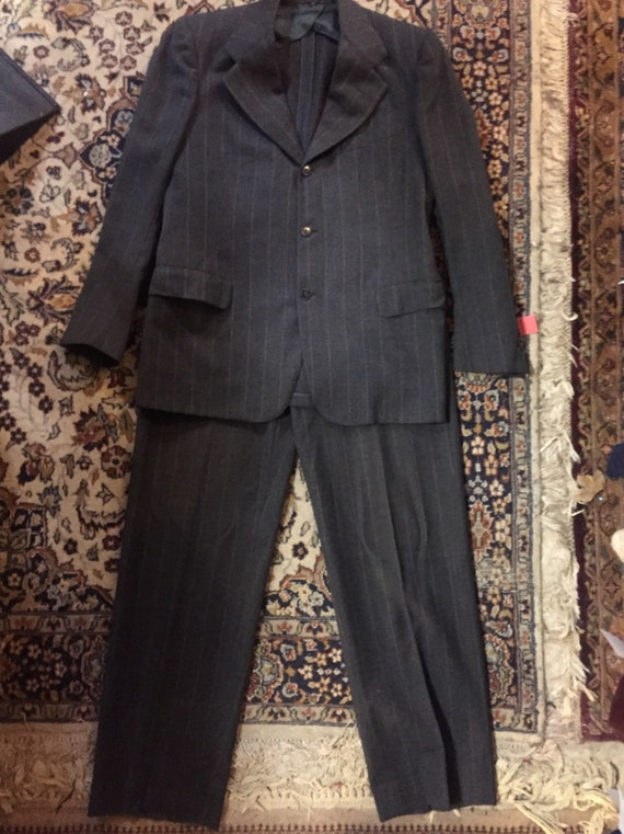 Grey pinstripe three-button 1930s suit size small
