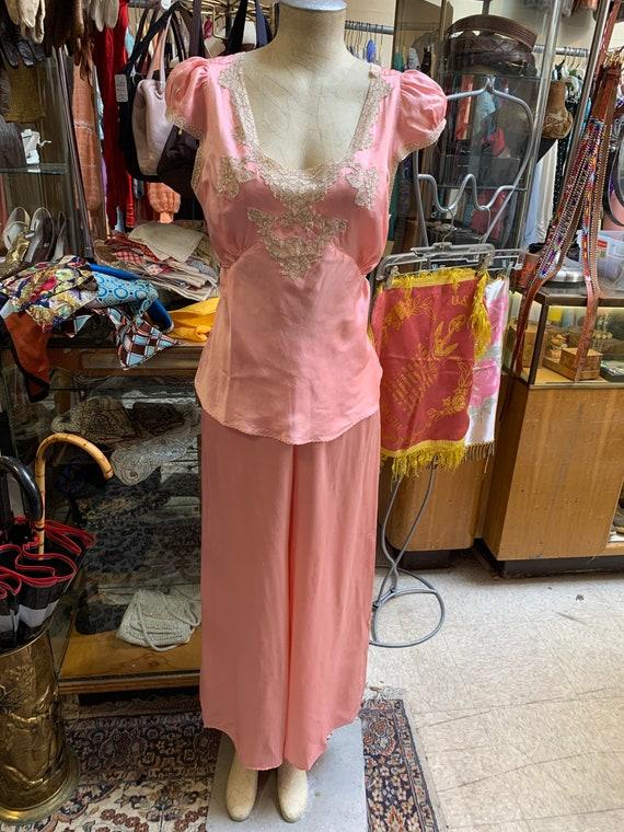 Luxurious 1930s silk satin pajama set in peach! L… - image 3
