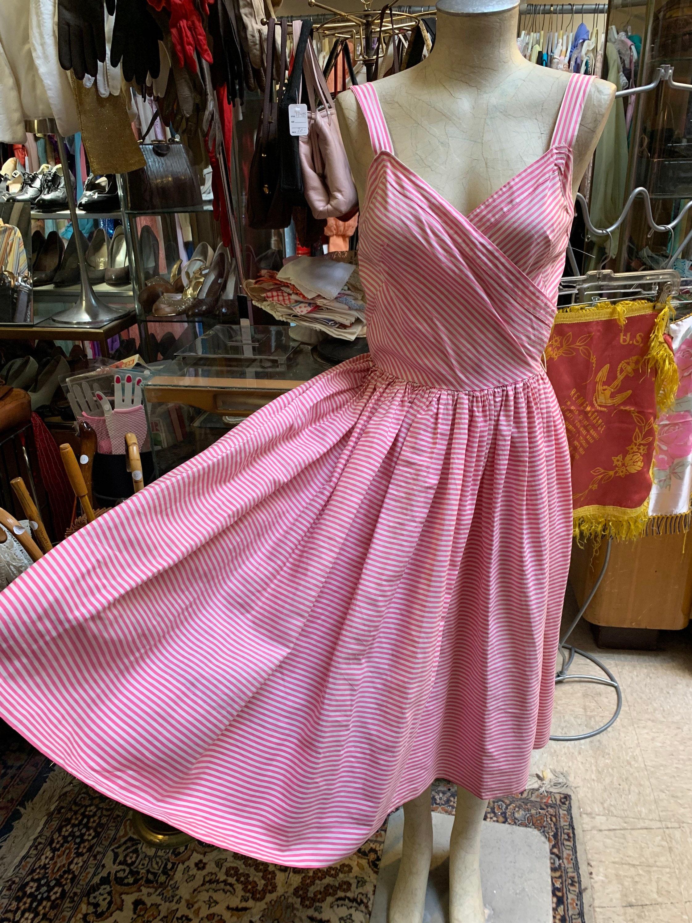 1950s Hats: Pillbox, Fascinator, Wedding, Sun Hats Candy Pink Perfect Cotton 1950S Summer Dress $22.00 AT vintagedancer.com