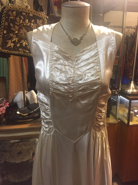 Gorgeous Satin Early 1940s Bridal Gown