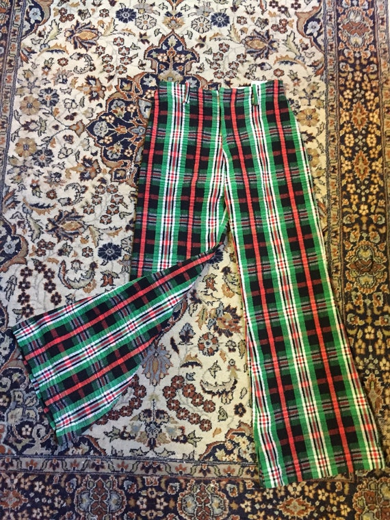 Pants! Awesome 1970s bellbottoms in plaid