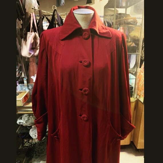 Stunning and sumptuous burgundy gabardine coat of