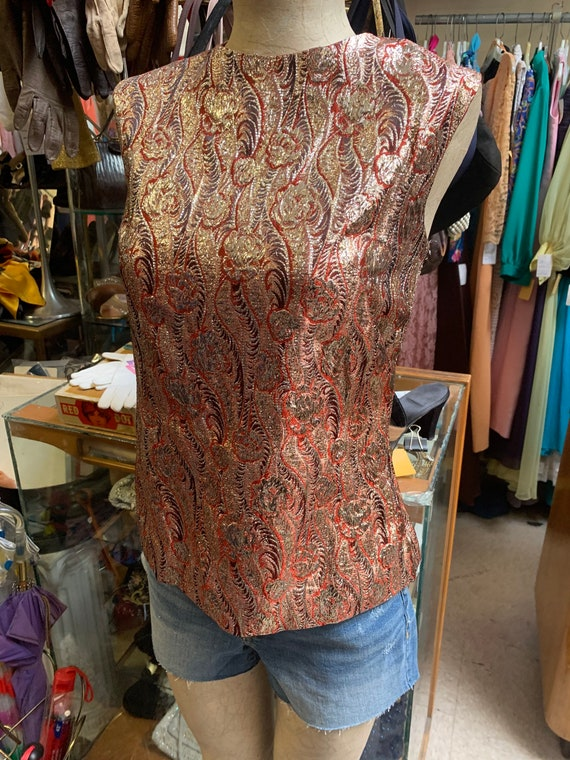 Super fun metallic psychedelic top of the 1960s/1… - image 1