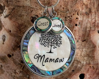 Mamaw Necklace, Mother of pearl & Abalone Shell