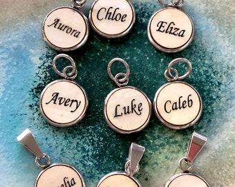 Name charms, kid names, name, 12mm