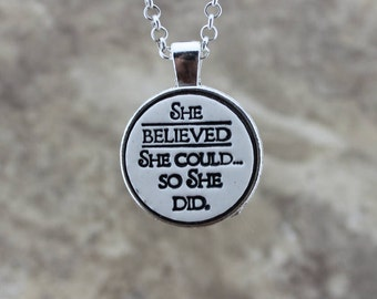 She Believed She Could So She Did Handmade Pottery Necklace