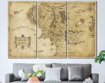 Middle earth map canvas | Etsy