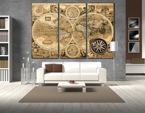 Old World Map Canvas.Old World Map Wall Art Vintage World Map Canvas Print Wall Art Etsy