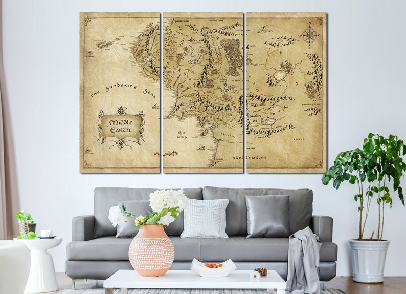 Lord of the Rings wall art canvas set. Middle Earth map decor. | Etsy