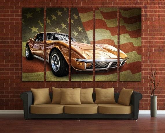 Muscle Car Wall Art Multi Panels Set USA Flag Wall Art Cars | Etsy