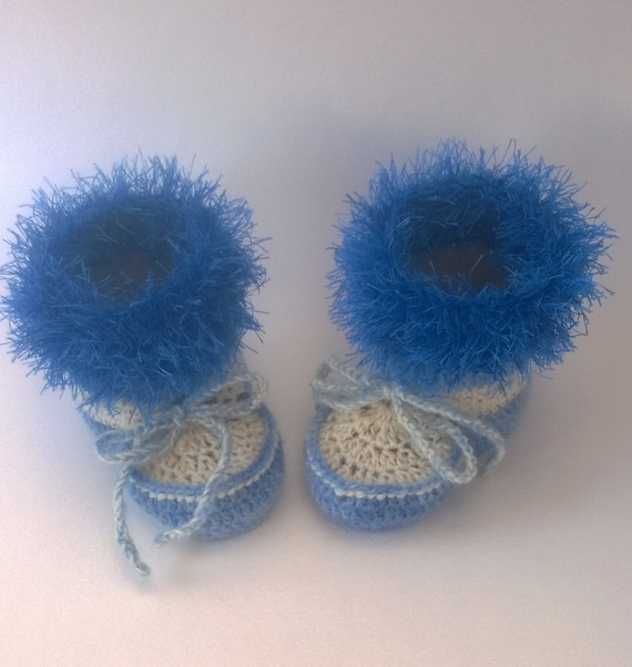 Häkeln Sie blau Baby Booties Weihnachten Stiefel | Etsy