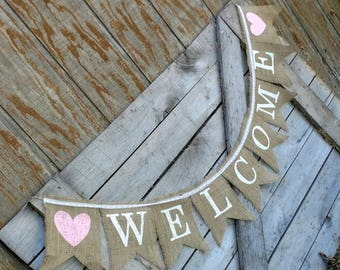 Burlap welcome banner w/lace, Bridal shower banner, Burlap wedding banner, Country wedding decor, Birthday banner, party banner