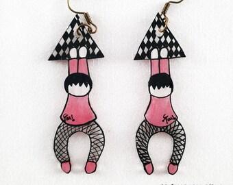 "Earrings ""luck"", model checkerboard/Rose - emi gibberish"