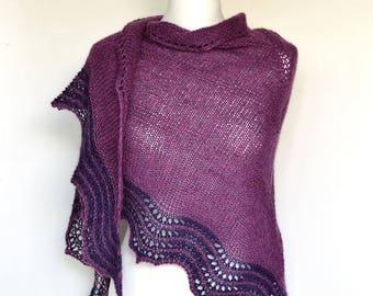 Hand knit alpaca shawl, Triangle alpaca shawl, Gift for women
