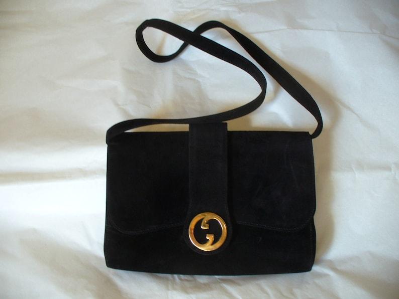 Borsa Gucci vintage in pelle di camoscio nero  155a8a5b1211