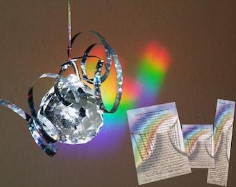Pet Loss Gift Set w Reflections of Rainbow Bridge Prism Pet Memorial Suncatcher & Condolence Poem on Bookmark, 4x6, Wallet Card- Dog Cat Any
